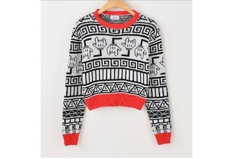 sweater fashion shirt tribal pattern mickey mouse mickey mousr hoodie red black white print nice beautiful