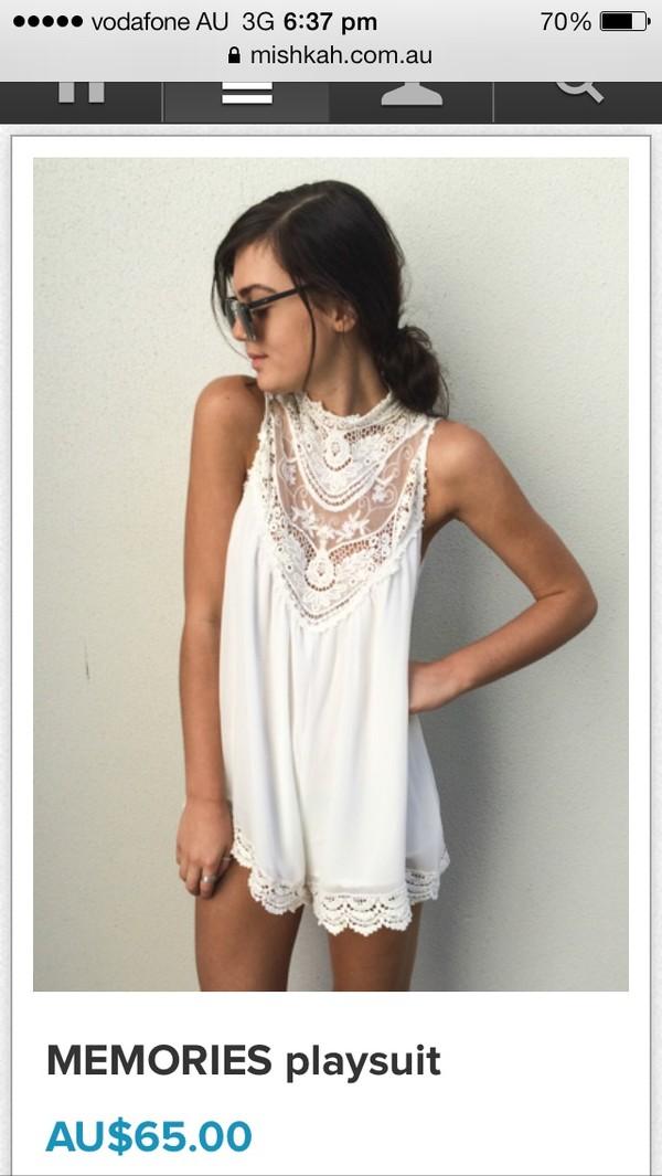 dress white romper mishkah