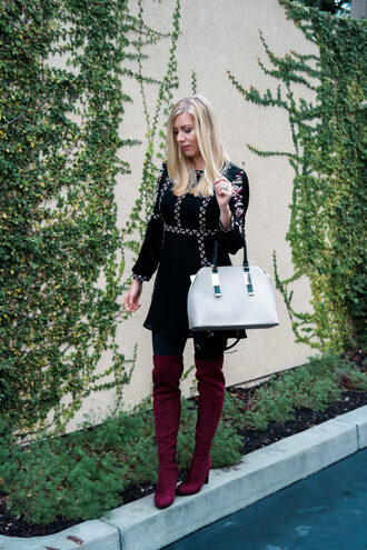 raspberry glow blogger dress leggings shoes bag handbag grey bag thigh high boots burgundy shoes black dress mini dress fall outfits