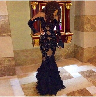 dress black transparent black dress prom dress prom gown lace dress wedding dress mermaid prom dress mermaid feathers