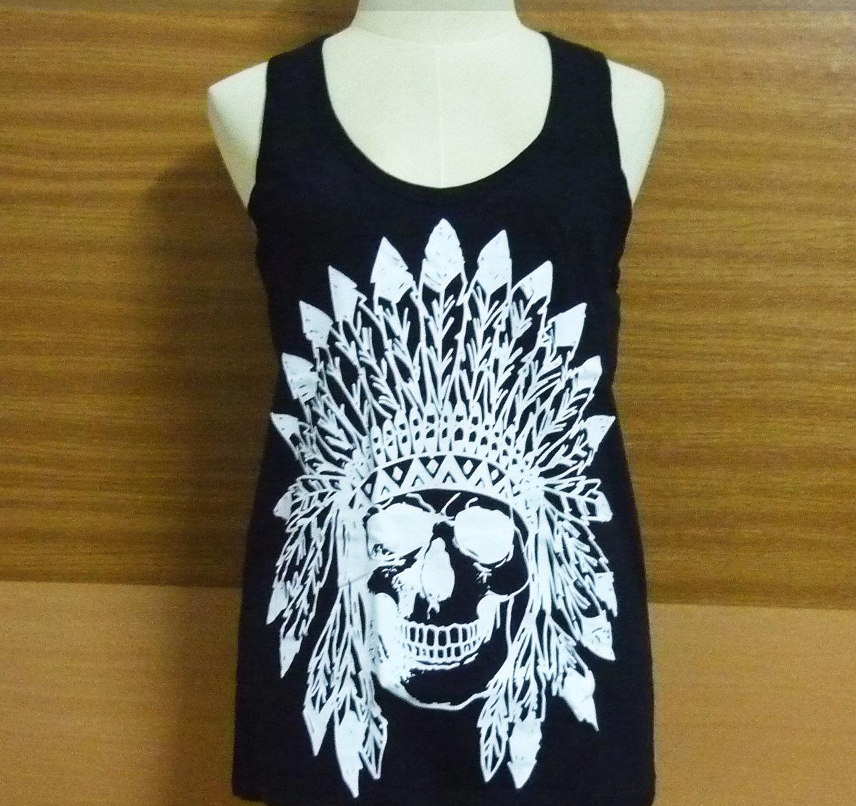 Tank top skull indian native american shirt men women vest skull tank top black cotton shirt singlet sleeveless/ fashional clothing s m l xl