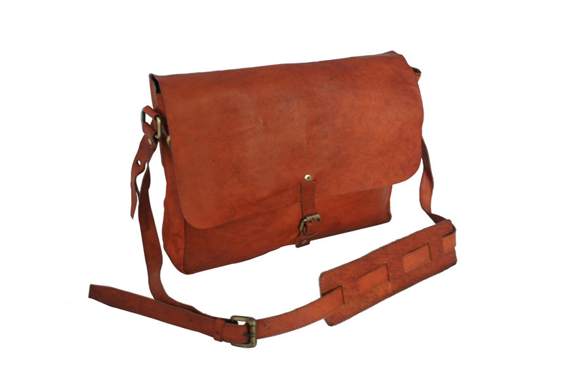 Brown leather evening handbag
