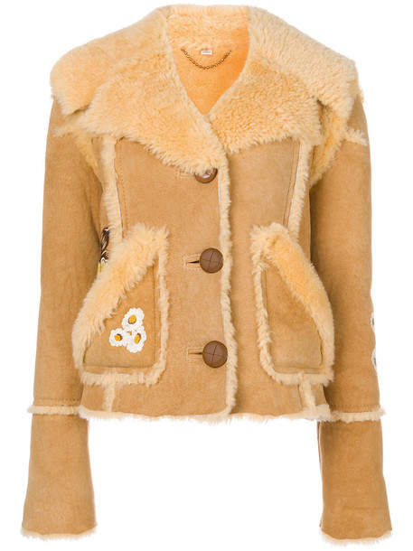 coach jacket shearling jacket eagle women leather yellow orange