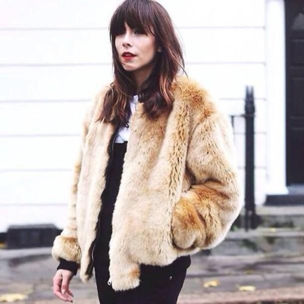 coat beige faux fur coat