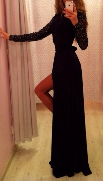 dress black studded long sleeves maxi black dress slit slit dress maxi dress black long prom dress black long dresses long sleeve dress long prom dress prom dress sequin prom dress