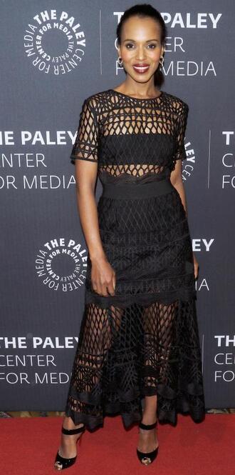 dress mesh midi dress all black everything kerry washington sandals lace