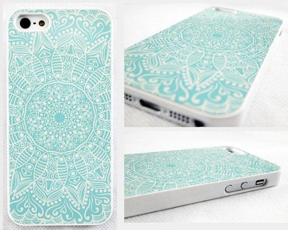 fashion phone cover iphone iphone 5 iphone 4 iphone 5s iphone 4s mandala blue sky blue iphone cover iphone case