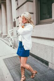 skirt,denim skirt,mini skirt,button up denim skirt,button up skirt,gladiators,spring outfits,blogger,streetstyle