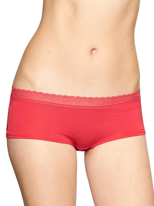 gap lace trim modal girl shorts - calypso coral