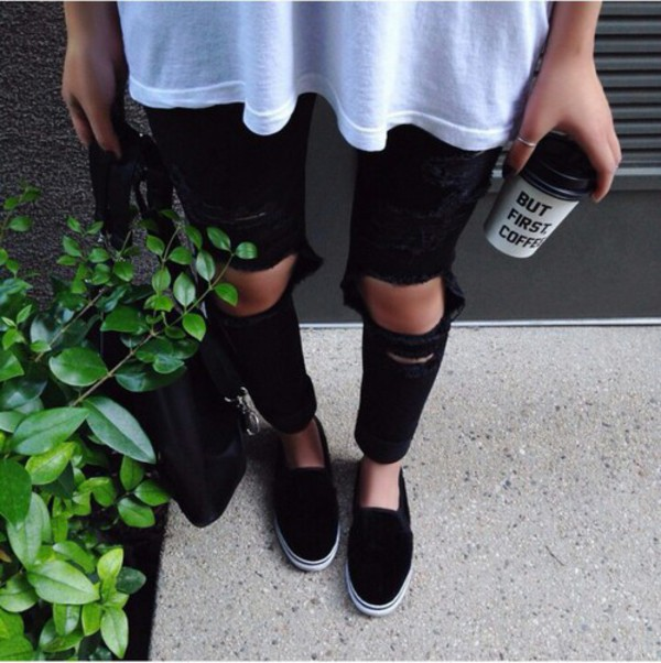 black vans slip ons tumblr