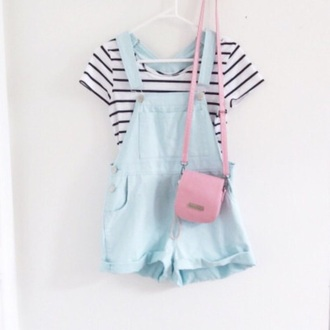 shorts pastel cute pastel blue overalls