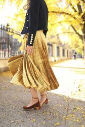 skirt,tumblr,gold skirt,pleated skirt,pleated,metallic pleated skirt,midi skirt,sandals,mid heel pumps,velvet,velvet shoes,jacket,black jacket,military style