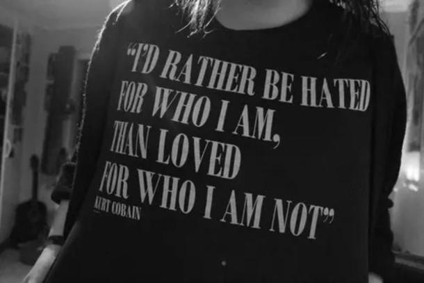 Sweater, Black, Kurt Cobain, Quote On It