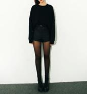 black,pullover,shorts,shoes,cuir noir