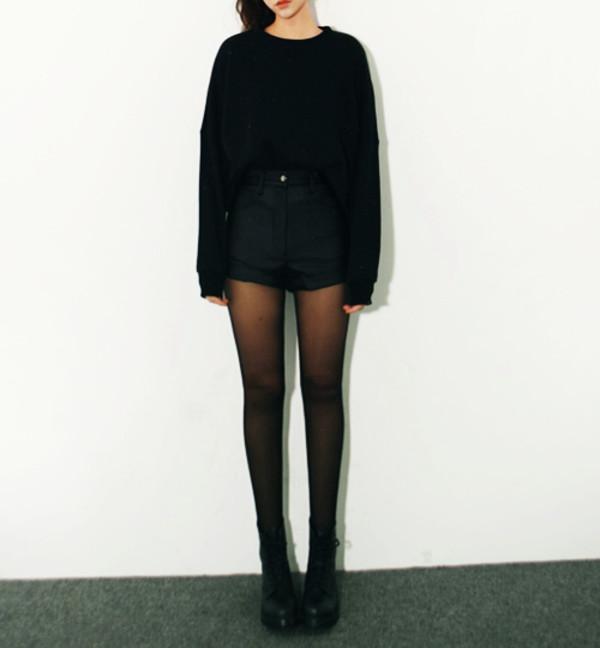 black pullover shorts shoes cuir noir