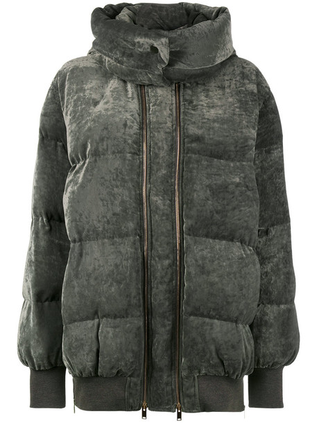 jacket puffer jacket women silk velvet grey