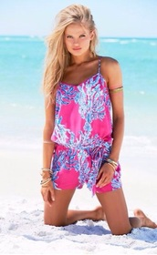 romper,blue,pink,lily pulitzer,cute,funny,summer,beach,floral,fashion,style,beuty