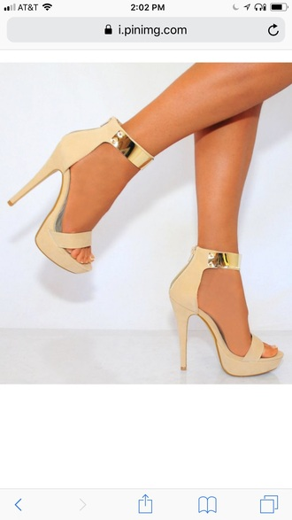 shoes nude and gold heels