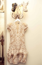 dress,lace dress,beige dress