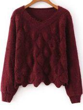 burgundy sweater,burgundy knit sweater,scale knit pattern,scale pattern,cropped sweater,v neck,long sleeve sweater,www.ustrendy.com
