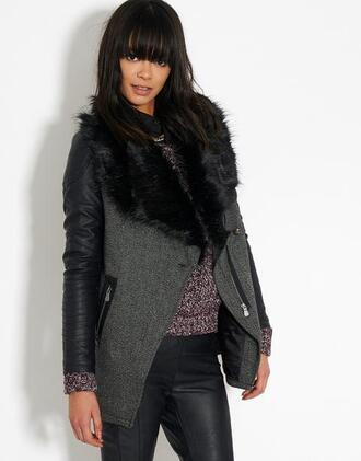 jacket tweed jacket faux leather jacket fur collar coat bankfashion