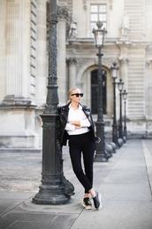 victoria tornegren,blogger,shoes,jacket,shirt,pants,sunglasses,perfecto,black leather jacket,platform shoes,black pants