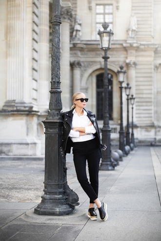 victoria tornegren blogger shoes jacket shirt pants sunglasses perfecto black leather jacket platform shoes black pants