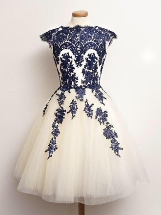 dress white blue ivory lace prom cocktail cute pretty puff puffy prom dress fashion evening dress homecoming dress bridesmaid