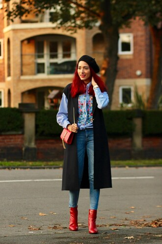 preppy fashionist blogger blouse jacket jeans bag shoes jewels sleeveless coat beret ysl bag red boots ankle boots embroidered satin shirt