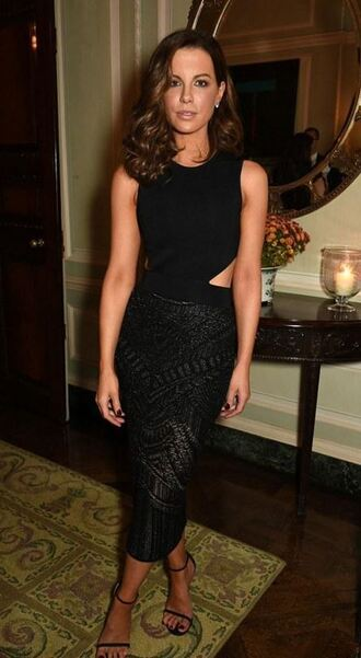 dress asymmetrical dress black dress midi dress kate beckinsale sandals