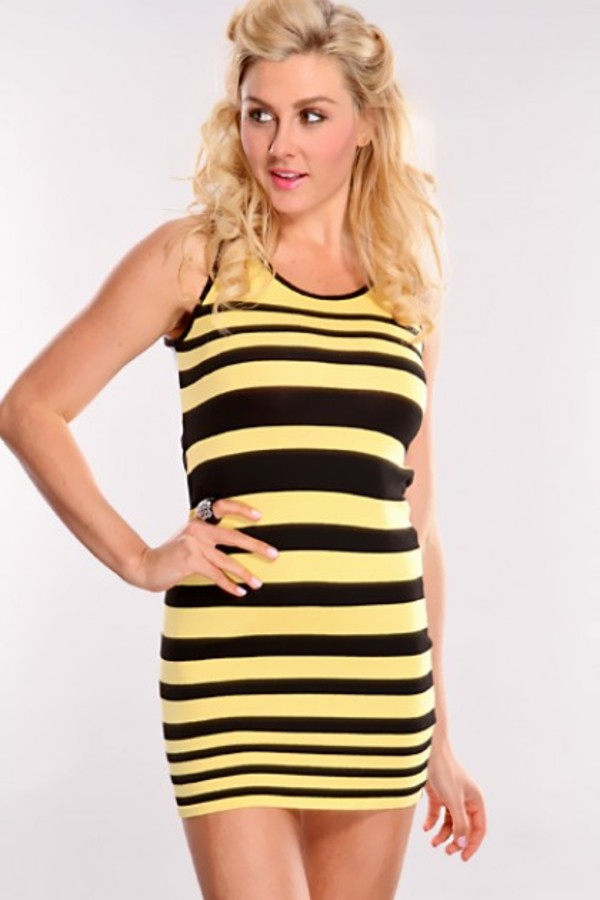 dress yellow black stripes striped dress yellow dress black dress long top no sleeves