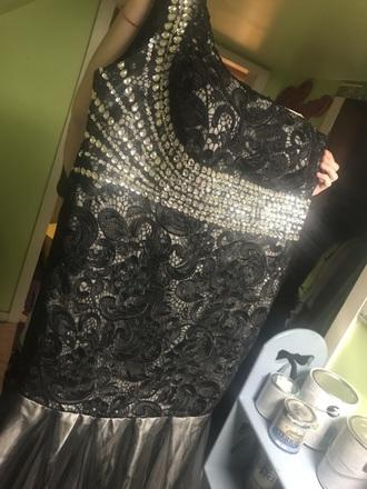 dress mori lee formal dress one shoulder black black dress zipper dress