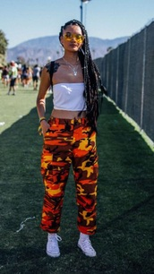 pants,orange camo pants,camo pants,coachella outfit