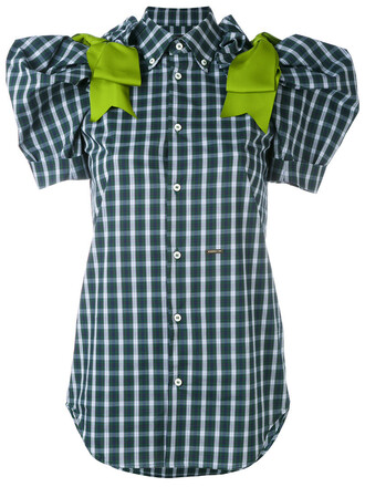 blouse women spandex cotton green gingham top
