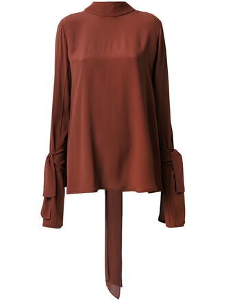 blouse women silk brown top