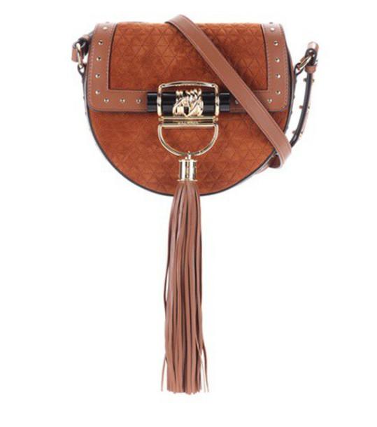 Balmain embellished bag suede brown