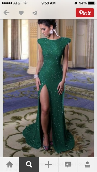 dress green dress prom dress green emerald green formal dresses emerald green sparkle sparkly dress side split formal dress formal