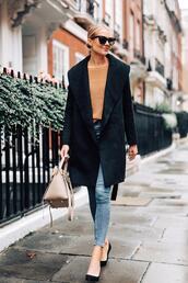 fashionjackson,blogger,coat,sweater,jeans,shoes,sunglasses
