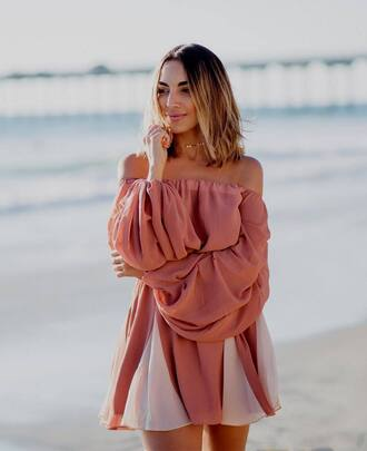 dress tumblr mini dress pink dress off the shoulder off the shoulder dress puffed sleeves summer dress