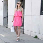 visions of vogue,blogger,bag,shoes,jewels,sunglasses,pink dress,mini dress,make-up,pink,summer dress,sandals,white sandals,white bag,white sunglasses,summer outfits,sandal heels,high heel sandals,short dress,handbag