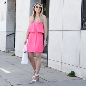 visions of vogue blogger bag shoes jewels sunglasses pink dress mini dress make-up pink summer dress sandals white sandals white bag white sunglasses summer outfits sandal heels high heel sandals short dress handbag