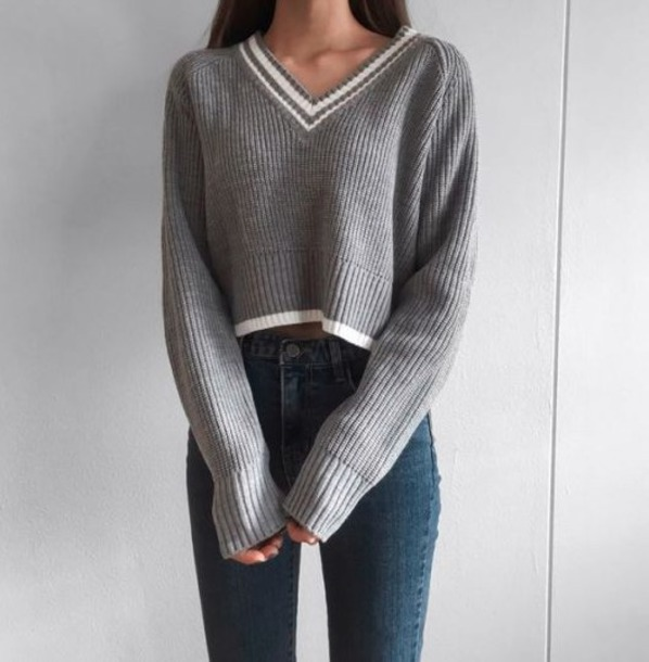 sweater cropped v neck fall outfits knit loose ribbed