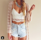 shirt,pants,tank top,shorts,blouse,sweater,top,jewels,cardigan,trendy,hipster,shorts top cover,ripped,denim,high waisted,white lace tank top,girly,crop tops,white,white top,white crop tops,lace top,lace up,lace,High waisted shorts,high waisted denim short,denim shorts,torn clothes,jacket,hippie,boho,necklace,silver jewelry,turquoise,turquoise jewelry,jeans,white cardigan,clothes,outfit,hat,lace crop top,braid,rose wholesale,summer,girl,girly wishlist,crop,accessories,beige,sheer