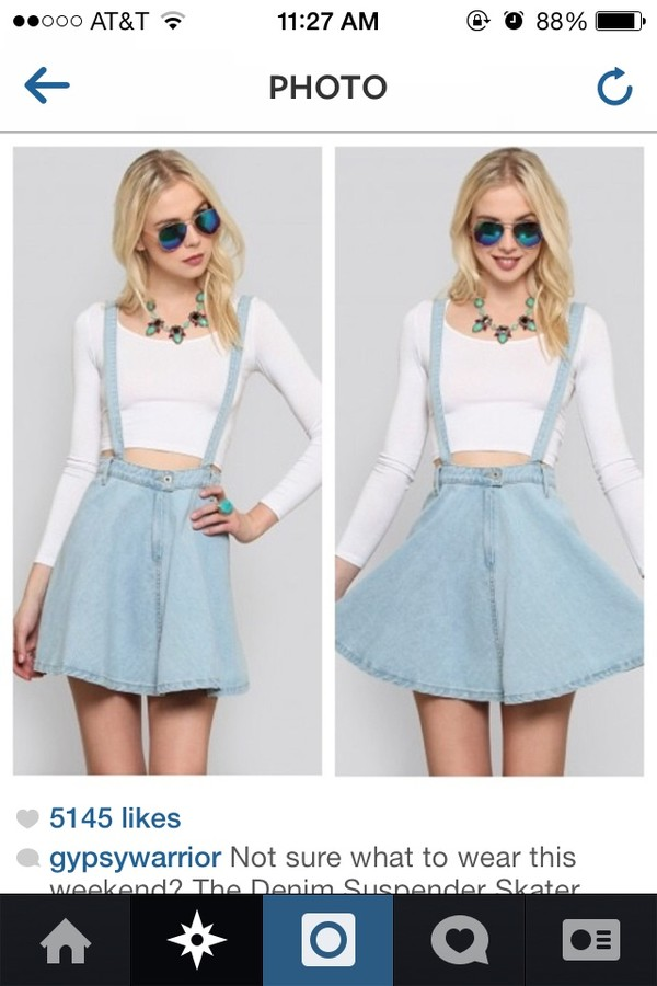 shirt blue jean skirt white crop tops skirt