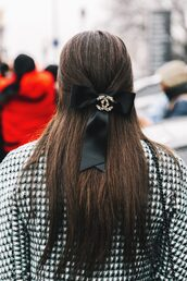 hair accessory,fashion week 2017,tumblr,fashion week street style,streetstyle,long hair,hair bow,chanel,brunette,hairstyles,coat,printed coat