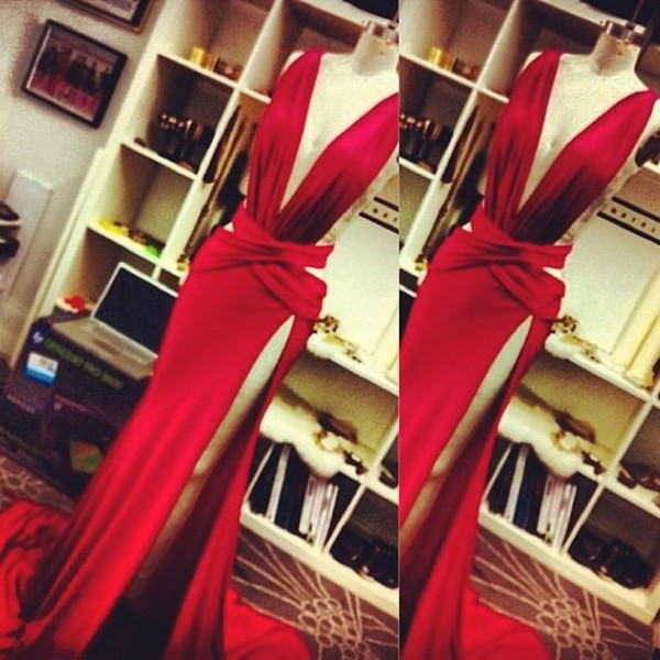 formal formal dress prom prom dress red dress evening dress sexy dress leg split v neck cut-out