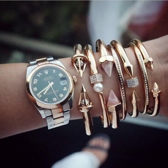 jewels watch rolex jewelry bracelets stacked bracelets titan gold gold bracelet arm candy arm party bracelet stack gemstone
