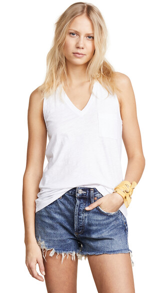 v neck cotton white top