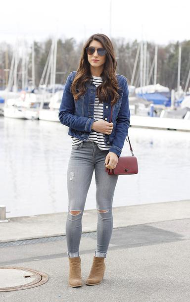 seekingsunshine blogger t-shirt jacket jeans shoes sunglasses bag striped top denim jacket skinny jeans shoulder bag ankle boots