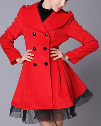 coat red mesh fall outfits winter outfits elegant fashion style jacket
